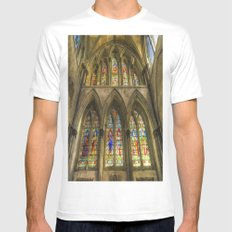Rochester Cathedral Stained Glass Windows Art SMALL White Mens Fitted Tee