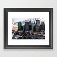 Brookly Bridge & Financial District Framed Art Print