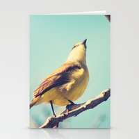 He goes skywards (Retro bird in tree branches and pale turquoise sky) Stationery Cards