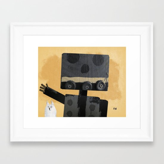 Happy Robot Happy Cat Framed Art Print