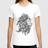 Poetic Lion B&W Womens Fitted Tee White SMALL