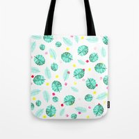 Exotic modern summer green palm tree leaf watercolor pattern brushstrokes Tote Bag