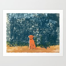 Orange Labrador Art Print