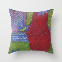 Play with Me Mixed Media Collage Art  Throw Pillow
