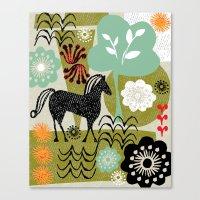 magical horse garden Canvas Print
