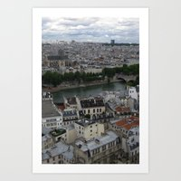 Paris Rooftops and the Seine Art Print