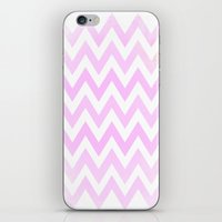 Pale Pink Textured Chevr… iPhone & iPod Skin