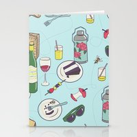 messy picnic Stationery Cards