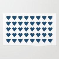 64 Hearts Navy Rug