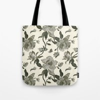 Black Magnolia Pattern Tote Bag