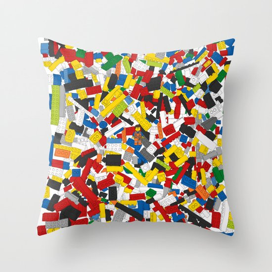 Lego Throw Pillow And Blanket Set : The Lego Movie Throw Pillow by Martin Lucas Society6