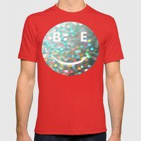 BE HAPPY Mens Fitted Tee Red SMALL