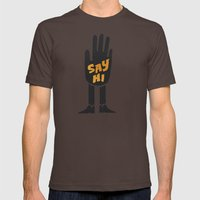 Say Hi. Mens Fitted Tee Brown SMALL