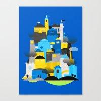 Magic Town - Blue Canvas Print