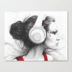 MUSIC - pencil portrait girl in headphones Canvas Print