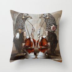 Les Cavalières Blanches Throw Pillow