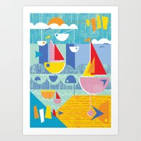Atomic Mid Century Modern Boats Placement Print 3 Art Print