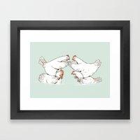 Chicken Fight Framed Art Print