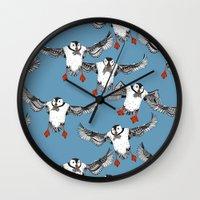 Atlantic Puffins blue Wall Clock