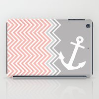Coral Nautical Chevron  iPad Case