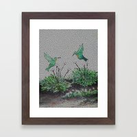 Hummingbirds and Hostas gone Digital Framed Art Print