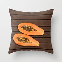 Papaya Fruit Throw Pillow