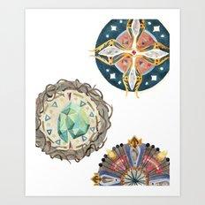 Three Decorated Wheels Art Print