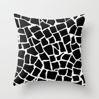 Mosaic Zoom Black and White Throw Pillow