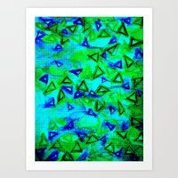 ANALOG zine - TECHNO VIBE Collaboration Piece, Bold Colorful Abstract Watercolor Painting Music Art Print
