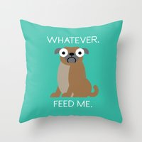 The Pugly Truth Throw Pillow