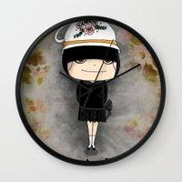 Black Tea Girl Wall Clock