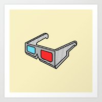 3d glasses Art Print