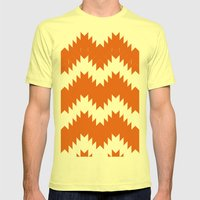 Orange pattern Mens Fitted Tee Lemon SMALL