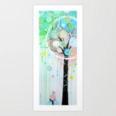 Hello Pink Kitty Tree Art Print