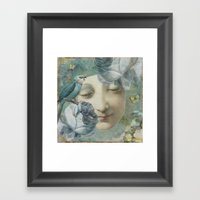 Blue Bird Moon Face Framed Art Print
