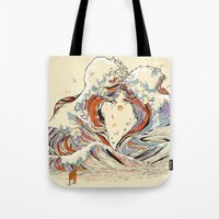 Tote Bag featuring The Wave of Love by Huebucket