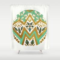 Golden Nature Mandala Shower Curtain