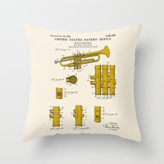 Trumpet Patent Throw Pillow