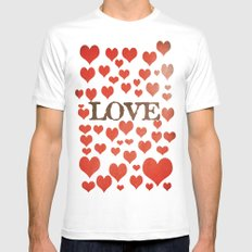 Love Heart Valentines Design  SMALL White Mens Fitted Tee