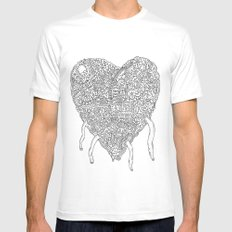 Doodle Heart Mens Fitted Tee SMALL White