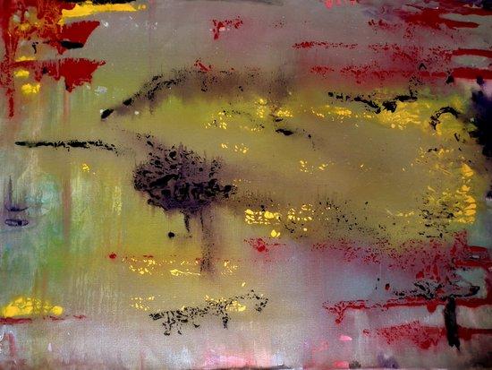 Yellow on Red Art Print