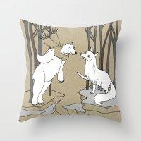 Arctic fox and Polar bear, Romeo and Juliet Throw Pillow