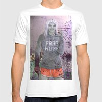 FREE HUGS Mens Fitted Tee White SMALL