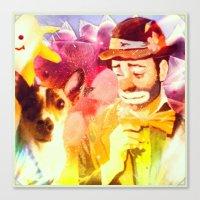 Canvas Print featuring Sad Clown, Happy Dog by Jenn Bress