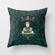 Yule Log Lady (in Green) Throw Pillow