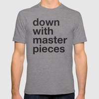 down with masterpieces Mens Fitted Tee Tri-Grey SMALL