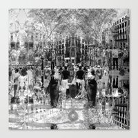 Summer space, smelting selves, simmer shimmers. 26, grayscale version Canvas Print