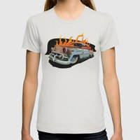 Caddy Rat Rod Womens Fitted Tee Silver SMALL