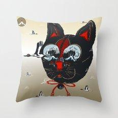 CATCRANEFISH Black Head Throw Pillow