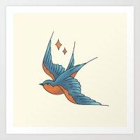 Swallow Tattoo - Colour Art Print